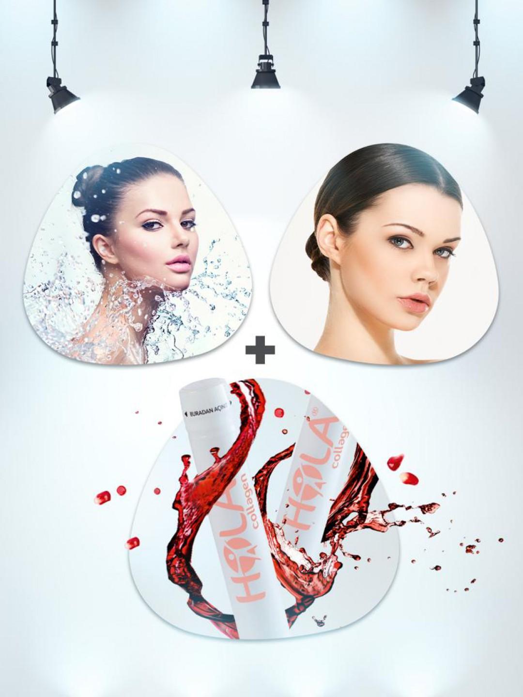 3 Seans Aqua Peeling + 1 Seans Yoğun Cilt Bakımı | 1 Seans Hi Fu ile Ameliyatsız Yüz Germe | Hola Collagen (Nar Aromalı)